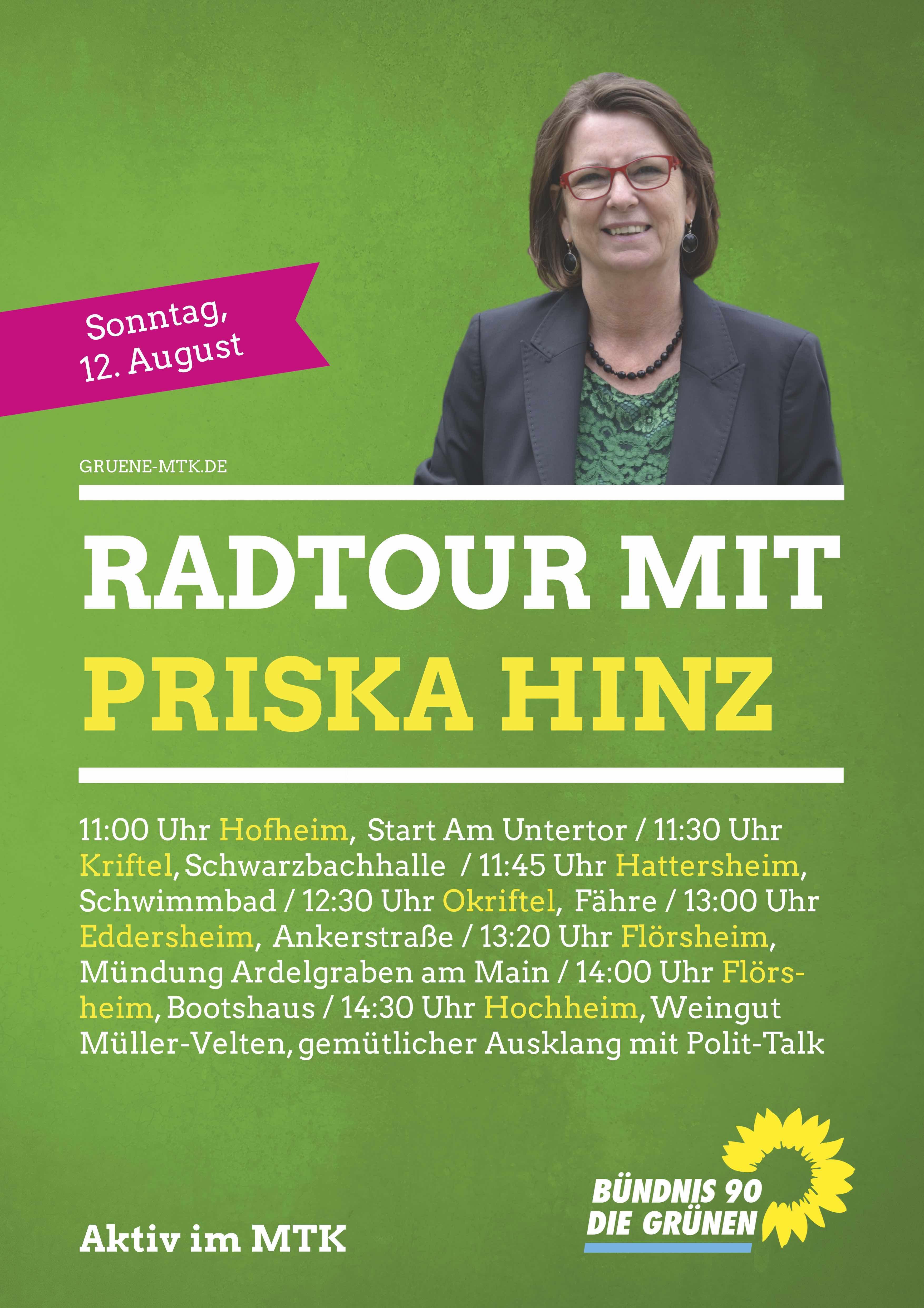 12. August: Radtour mit der hessischen Ministerin Priska Hinz