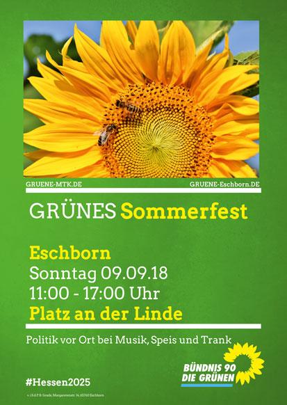Einladung zum Grünen Sommerfest in Eschborn am 9.9.